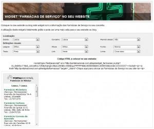 Widget Farmácias de Serviço no seu Website