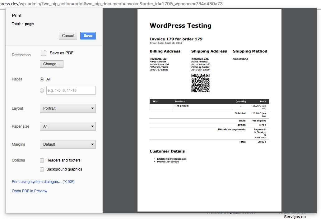 shipping address qr code for woocommerce print invoices packing